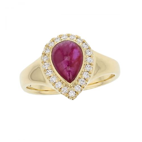 18ct yellow gold ladies pear cut cabochon ruby & diamond designer cluster ring designed & hand crafted by Faller of Derry/ Londonderry, halo dress ring, precious red gem jewellery, jewelry, cabouchon