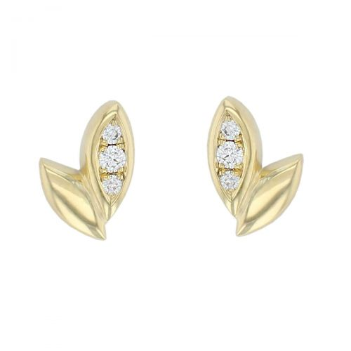 18ct yellow gold Faller falling leaves diamond stud earrings, designer jewellery, jewelry, handcafted, fall