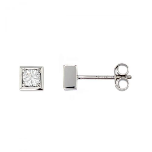 Faller cushion cut diamond 18ct white gold ladies square shape earrings, 18kt, designer, handmade by Faller, Derry/ Londonderry, hand crafted, precious jewellery, jewelry