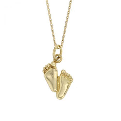 18ct yellow gold little feet pendant, symbol of new start, baby, charm, Ireland, designer handmade by Faller, Derry/ Londonderry, Irish hand crafted,