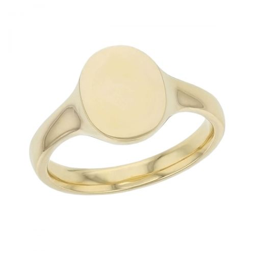 Oval ladies solid 18ct yellow gold signet dress ring designed & hand crafted by Faller of Derry/ Londonderry, personalised engraving, plain, non stone,