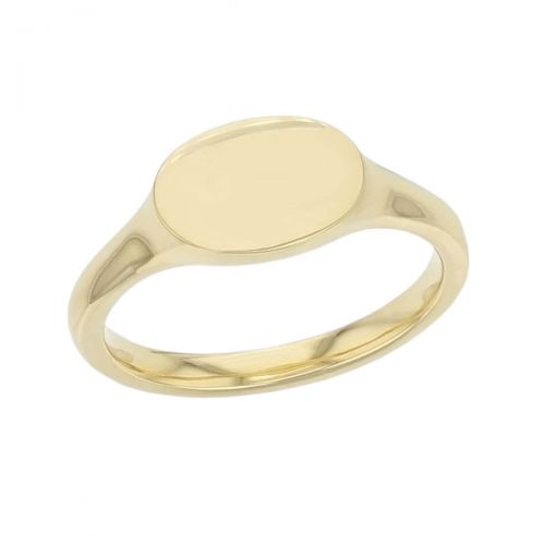 Oval ladies solid 18ct yellow gold signet dress ring designed & hand crafted by Faller of Derry/ Londonderry, personalised engraving, precious jewellery, jewelry