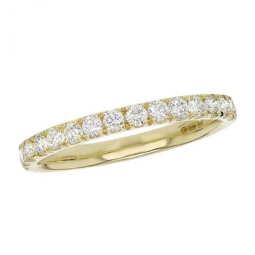 2.5mm wide 18ct yellow gold ladies round brilliant cut diamond eternity ring, diamond set wedding ring, woman's bridal, personalised engraving, court profile, comfort fit, precious jewellery by Faller of Derry/ Londonderry, jewelry, claw set, 18kt