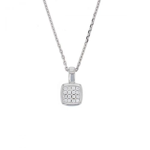 Faller diamond cushion shape 18ct white gold ladies pendant with chain, 18kt, designer, handmade by Faller, Derry/ Londonderry, hand crafted, precious jewellery, jewelry