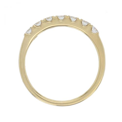 18ct yellow gold ladies 7 round brilliant cut claw set diamond eternity ring, woman's bridal, personalised engraving, court profile, comfort fit, precious jewellery by Faller of Derry/ Londonderry, jewelry, 18kt