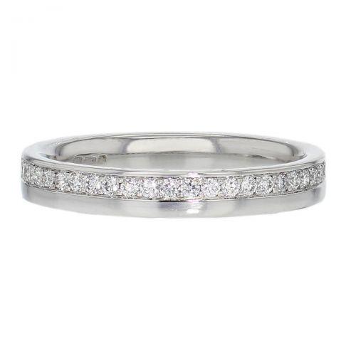 diamond wedding ring, platinum band, grain set, eternity ring, by Faller