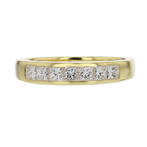 3.8mm wide 18ct yellow gold ladies princess cut diamond eternity ring, personalised engraving, court profile, comfort fit, precious jewellery by Faller of Derry/ Londonderry, jewelry, channel set, 18kt, tapered