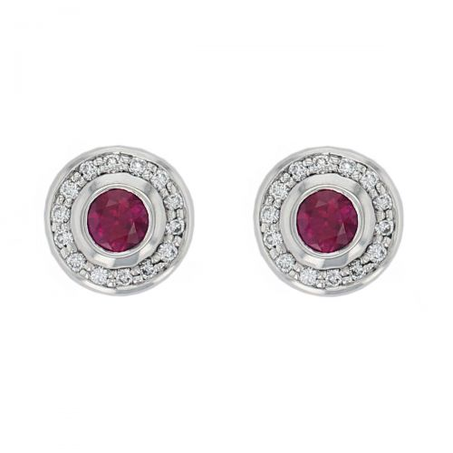 Faller ruby & diamond halo studs, 18ct yellow gold ladies earrings, wedding anniversary, 18kt, designer, handmade by Faller, Derry/ Londonderry, hand crafted, precious red gem jewellery, jewelry