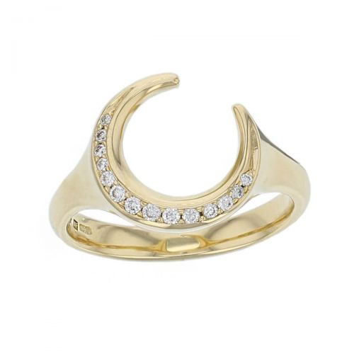 Faller Cresent Moon Ring, diamond 18ct yellow gold ladies dress ring. 18kt, designer, handmade by Faller, Derry/ Londonderry, hand crafted, precious jewellery, jewelry