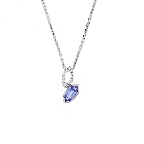 Faller marquise cut blue, purple tanzanite gemstone & diamond halo 18ct white gold ladies pendant with chain, 18kt, designer, handmade by Faller, Derry/ Londonderry, hand crafted, precious jewellery, jewelry, navette