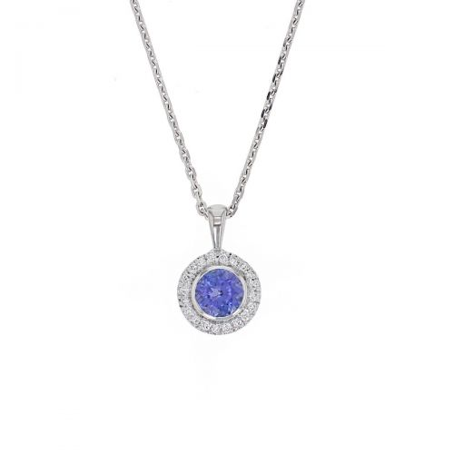 Faller round cut blue, purple tanzanite gemstone & diamond halo 18ct white gold ladies pendant with chain, 18kt, designer, handmade by Faller, Derry/ Londonderry, hand crafted, precious jewellery, jewelry