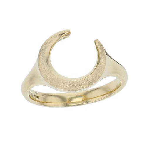 ladies 18ct yellow gold dress ring designed & hand crafted by Faller of Derry/ Londonderry, cresent moon, personalised engraving, precious jewellery, jewelry