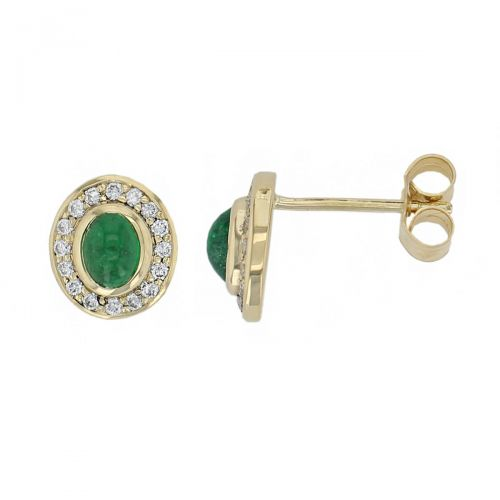 Faller cabochon emerald & diamond halo studs, 18ct yellow gold ladies earrings, wedding anniversary, 18kt, designer, handmade by Faller, Derry/ Londonderry, hand crafted, precious jewellery, green gem jewelry