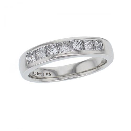 4.1mm wide platinum ladies princess cut diamond eternity ring, personalised engraving, court profile, comfort fit, precious jewellery by Faller of Derry/ Londonderry, jewelry, channel set, tapered