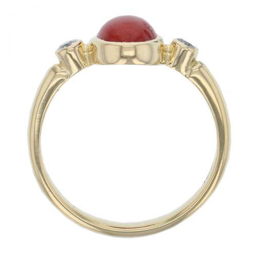 18ct yellow gold oval cut cabochon coral gemstone & diamond 3 stone dress ring, designer jewellery, organic gem, jewelry, handmade by Faller, Londonderry, Northern Ireland, Irish hand crafted, shoulder set, rim set