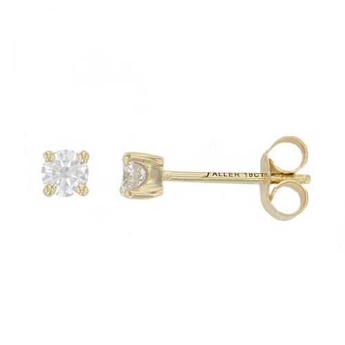 Faller round brilliant cut 4 claw set diamond 18ct yellow gold ladies solitaire earrings, 18kt, designer, handmade by Faller, Derry/ Londonderry, hand crafted, precious jewellery, jewelry