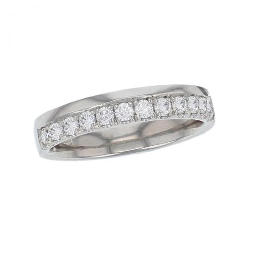 platinum ladies round brilliant cut diamond eternity ring, personalised engraving, court profile, comfort fit, precious jewellery by Faller of Derry/ Londonderry, jewelry, grain set