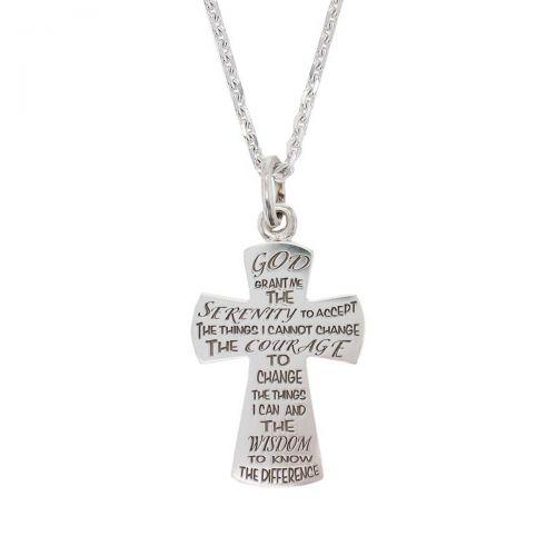 serenity prayer pendant, sterling silver cross pendant, Christian, religious, faith,