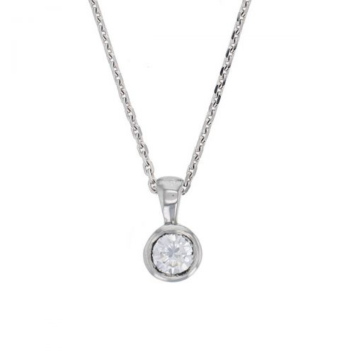 Faller round brilliant cut rim set diamond 18ct white gold ladies solitaire pendant with chain, 18kt, designer, handmade by Faller, Derry/ Londonderry, hand crafted, precious jewellery, jewelry