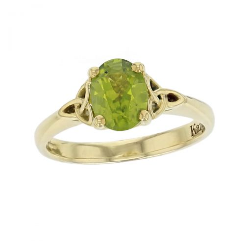 18ct yellow gold green oval cut faceted peridot gemstone dress ring, designer jewellery, gem, jewelry, handmade by Faller, Londonderry, Northern Ireland, Irish hand crafted, celtic, trinity symbol