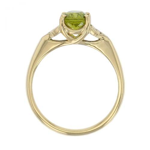 18ct yellow gold green oval cut faceted peridot gemstone dress ring, designer jewellery, gem, jewelry, handmade by Faller, Londonderry, Northern Ireland, Irish hand crafted, celtic, trinity symbol