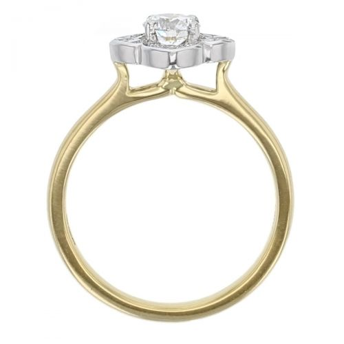 round brilliant cut diamond, cushion flower shape halo cluster platinum, 18ct yellow gold engagement ring, designer, handmade by Faller, hand crafted, betrothal, promise, precious jewellery, jewelry, hand crafted dress ring, GIA certified, G.I.A. GIA, vintage
