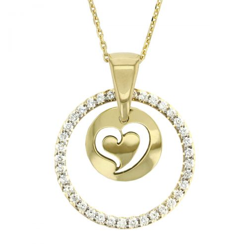 diamond pendant, Faller Kryptos necklace, message pendant, personalised engraving, make your own, jewellery, gift, celebration, symbol, 18ct yellow gold disc, heart
