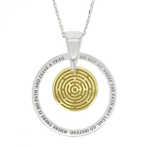 Faller Kryptos necklace, message pendant, personalised engraving, make your own, jewellery, gift, celebration, symbol, 18ct yellow gold disc, snowflake, birthday gift, anniversary, maze, labyrinth