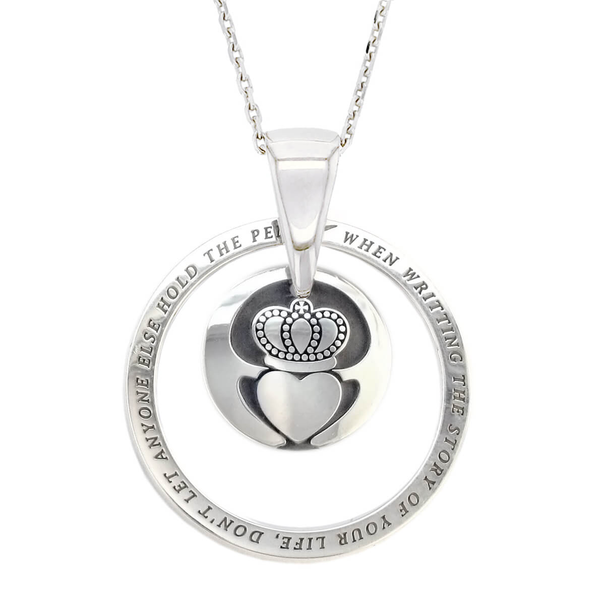 Faller Kryptos necklace, sterling silver, message pendant, personalised engraving, make your own, jewellery, gift, celebration, symbol, claddagh, love, loyalty, friendship