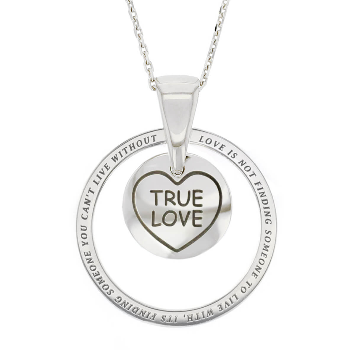 Faller Kryptos necklace, sterling silver, message pendant, personalised engraving, make your own, jewellery, gift, celebration, symbol, claddagh, true love, lovehearts pendant