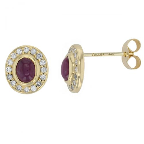 Faller cabochon ruby & diamond halo studs, 18ct yellow gold ladies earrings, wedding anniversary, 18kt, designer, handmade by Faller, Derry/ Londonderry, hand crafted, precious red gem jewellery, jewelry