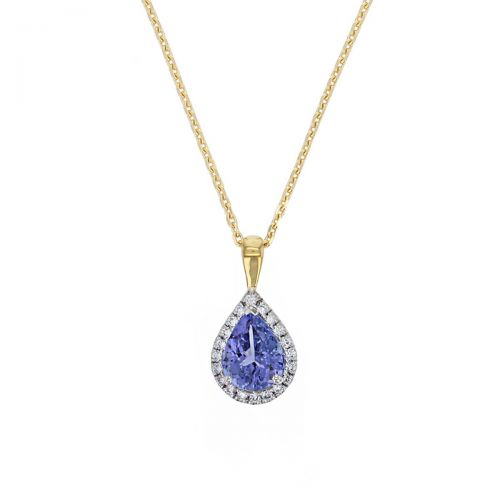 Faller pear cut blue, purple tanzanite gemstone & diamond halo 18ct white gold ladies pendant with chain, 18kt, designer, handmade by Faller, Derry/ Londonderry, hand crafted, precious jewellery, jewelry