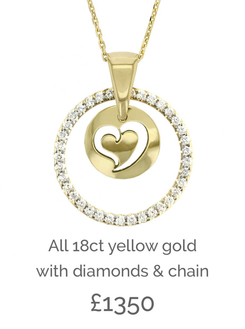 diamond pendant, Faller Kryptos disc, message pendant, personalised engraving, make your own, jewellery, gift, celebration, symbol, 18ct yellow gold disc, heart