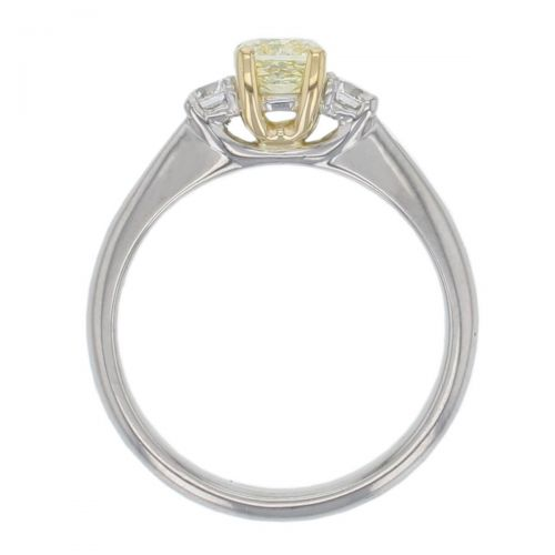 cushion cut yellow diamond trilogy engagement ring, platinum, designer, handmade by Faller, hand crafted, betrothal, promise, precious jewellery, jewelry, GIA certified, hand crafted, G.I.A. GIA, three stone