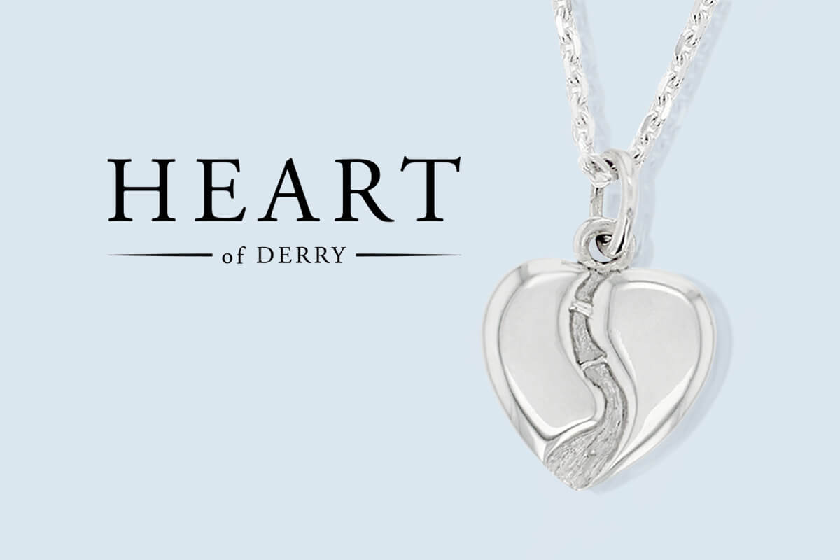 Heart of Derry logo, silver pendant, heart necklace, gift for Derry girls, River Foyle pendant, Peacebridge, Craigavon Bridge, Derry/ Londonderry gift, jewellery gift for women, unique, hand crafted jewelry, personalised jewellery, love & pride