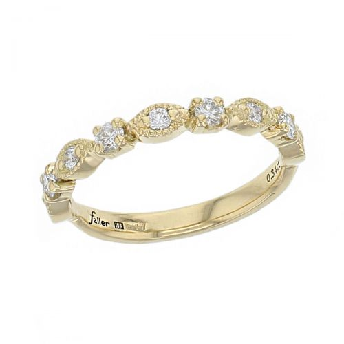 18ct yellow gold ladies round brilliant cut diamond eternity ring, diamond set wedding ring, woman's bridal, personalised engraving, court profile, comfort fit, precious jewellery by Faller of Derry/ Londonderry, jewelry, claw set, milligrain