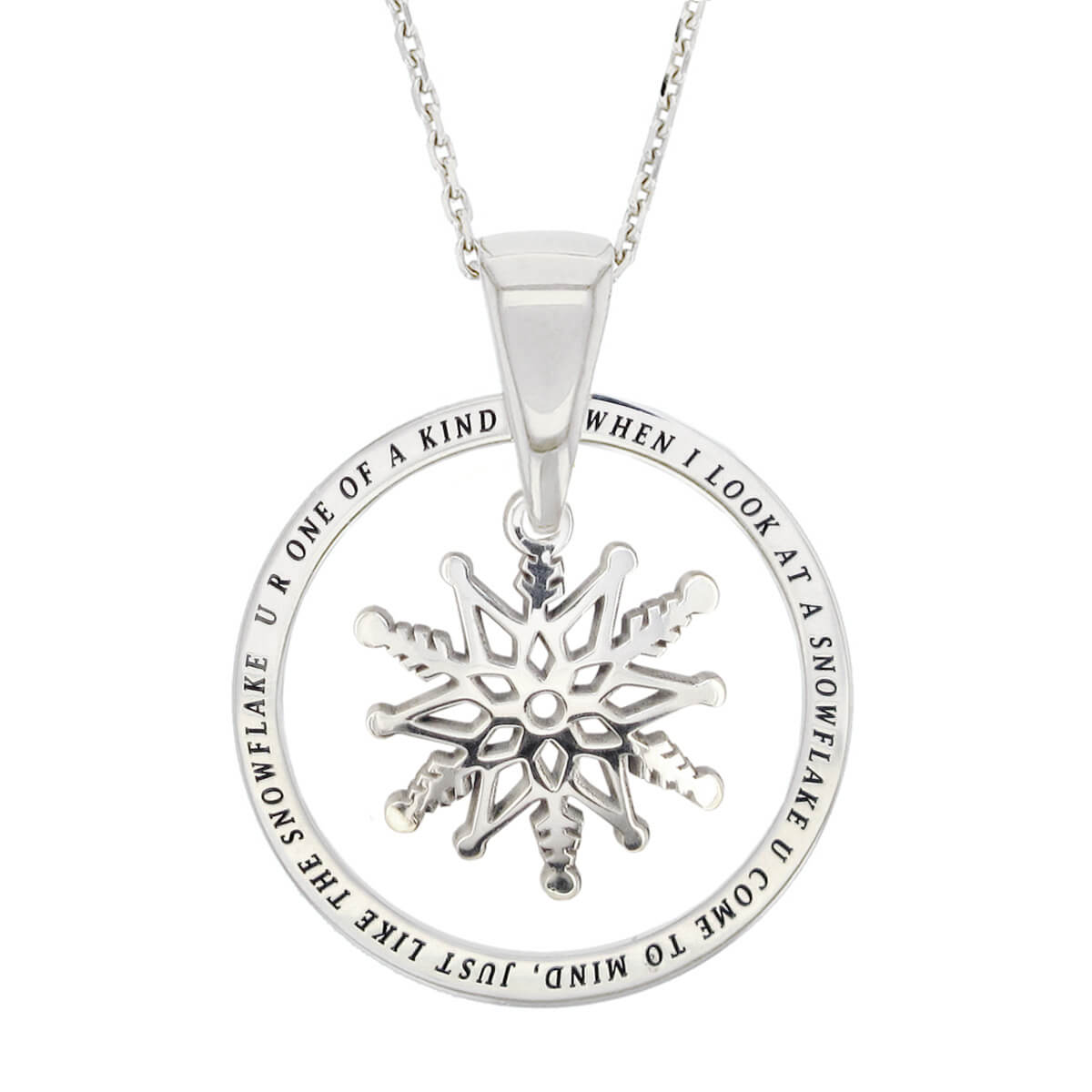 Faller Kryptos necklace, sterling silver, message pendant, personalised engraving, make your own, jewellery, gift, celebration, symbol, snowflake, Christmas gift
