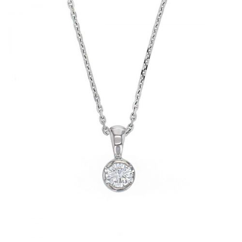 Faller round brilliant cut part rim set diamond 18ct white gold ladies solitaire pendant with chain, 18kt, designer, handmade by Faller, Derry/ Londonderry, hand crafted, precious jewellery, jewelry