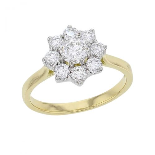 round brilliant cut diamond cluster engagement ring, 18ct yellow gold, platinum, designer, handmade by Faller, hand crafted, betrothal, promise, precious jewellery, jewelry, hand crafted dress ring