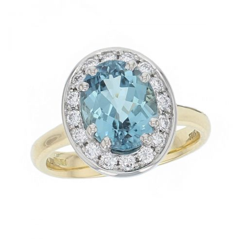alternative engagement ring, 18ct yellow gold & platinum ladies oval cut blue tourmaline & diamond designer cluster engagement ring designed & hand crafted by Faller of Derry/ Londonderry, halo dress ring, precious gem jewellery, jewelry