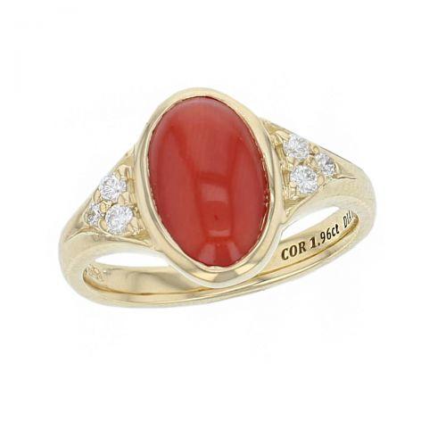 18ct yellow gold oval cut cabochon coral gemstone & diamond dress ring, designer jewellery, organic gem, jewelry, handmade by Faller, Londonderry, Northern Ireland, Irish hand crafted, claw set, rim set