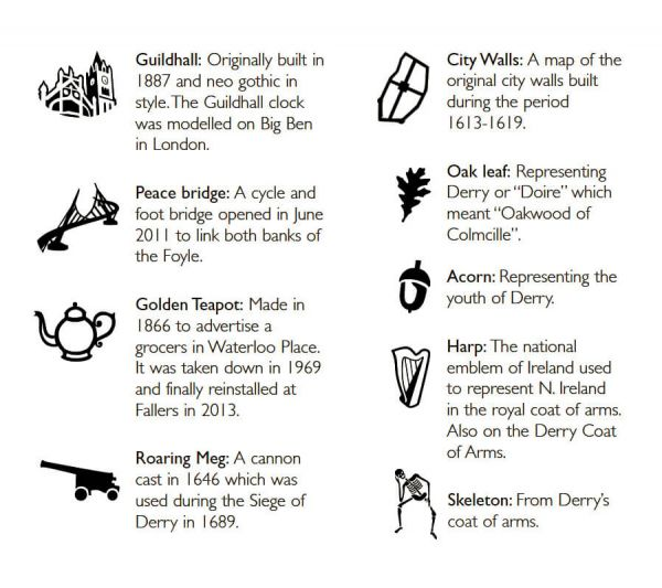 drop of derry icons explained, Guildhall, Peace Bridge, Golden Teapot, Roaring Meg Cannon, City walls, oak leaf, acorn, Harp, Skeleton, icons representing Derry