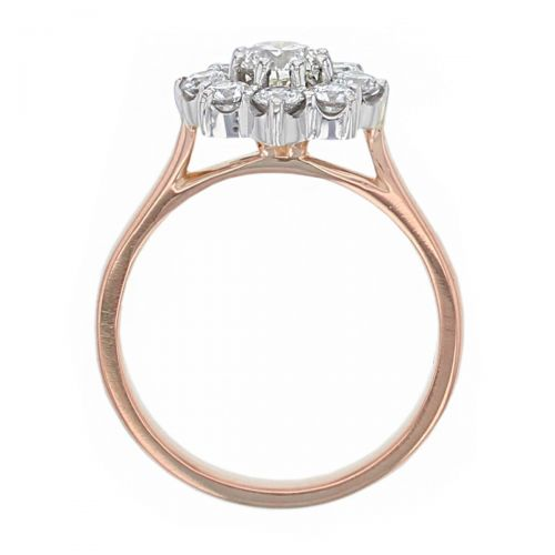 round brilliant cut diamond cluster engagement ring, 18ct rose gold, platinum, designer, handmade by Faller, hand crafted, betrothal, promise, precious jewellery, jewelry, hand crafted dress ring