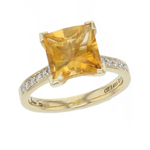 18ct yellow gold ladies citrine & diamond designer ring designed & hand crafted by Faller of Derry/ Londonderry, opulent, lavish dress ring, cocktail ring, precious jewellery, jewelry