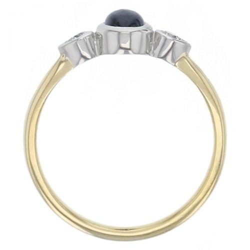 alternative engagement ring, platinum & 18ct yellow gold round brilliant cut diamond & cabochon cut blue sapphire trilogy ring designer three stone dress ring, handmade by Faller, hand crafted, precious jewellery, jewelry, ladies , woman, blue gem