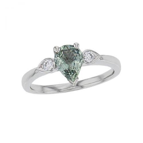 alternative engagement ring, platinum round brilliant cut diamond & pear cut green sapphire trilogy ring designer three stone dress ring handmade by Faller, hand crafted, precious jewellery, jewelry, ladies , woman