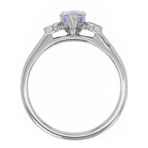 alternative engagement ring, platinum round brilliant cut diamond & pear cut purple sapphire trilogy ring designer three stone dress ring handmade by Faller, hand crafted, precious jewellery, jewelry, ladies , woman