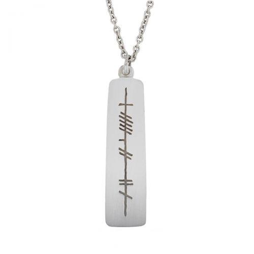 my love, mo ghrá, Ogham Slab sterling silver pendant, Faller, ancient script, talisman, oak twig secret message, celtic runes, Celtic Tree Alphabet, gaelic, hand-made, pillar