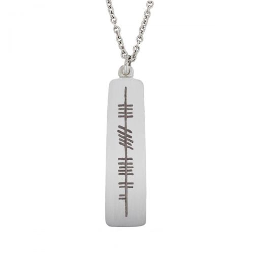 Derry, doire, Ogham Slab sterling silver pendant, Faller, ancient script, talisman, oak twig secret message, celtic runes, Celtic Tree Alphabet, gaelic, hand-made, pillar