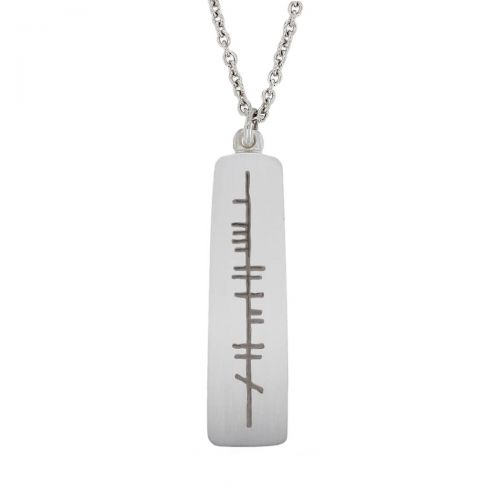 my hero, mo laoch, Ogham Slab sterling silver pendant, Faller, ancient script, talisman, oak twig secret message, celtic runes, Celtic Tree Alphabet, gaelic, hand-made, pillar